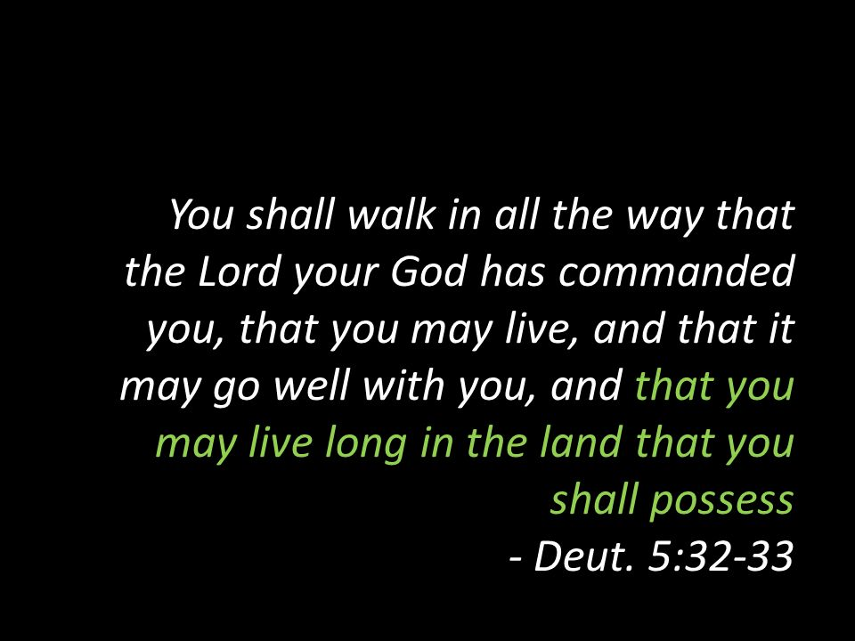 You shall walk in all the way that the Lord your God has commanded you, that you may live, and that it may go well with you, and that you may live long in the land that you shall possess - Deut.