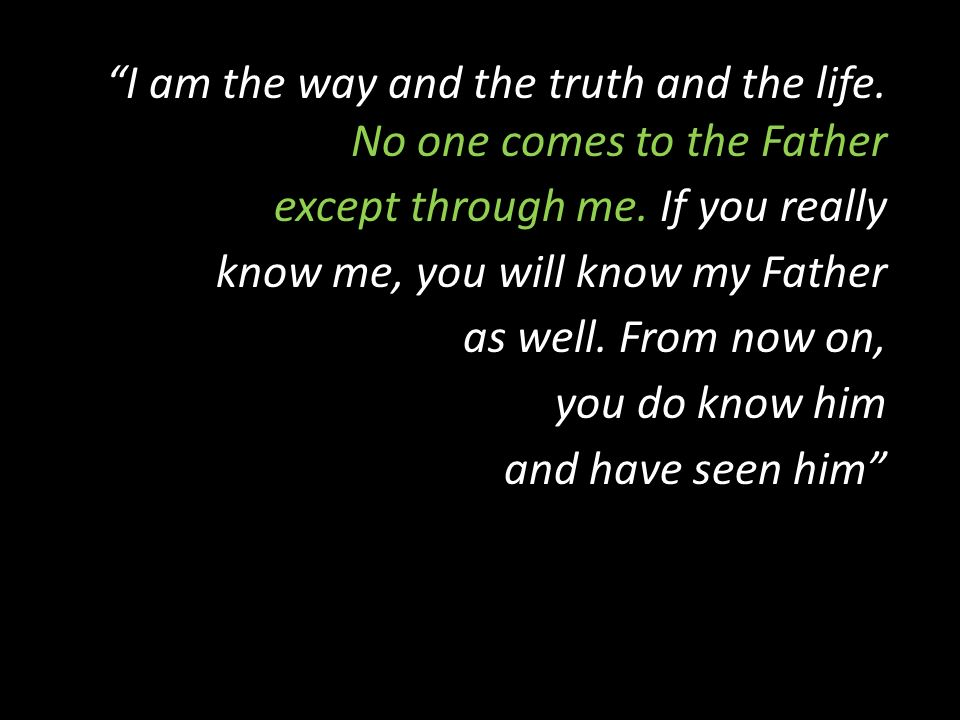 I am the way and the truth and the life. No one comes to the Father