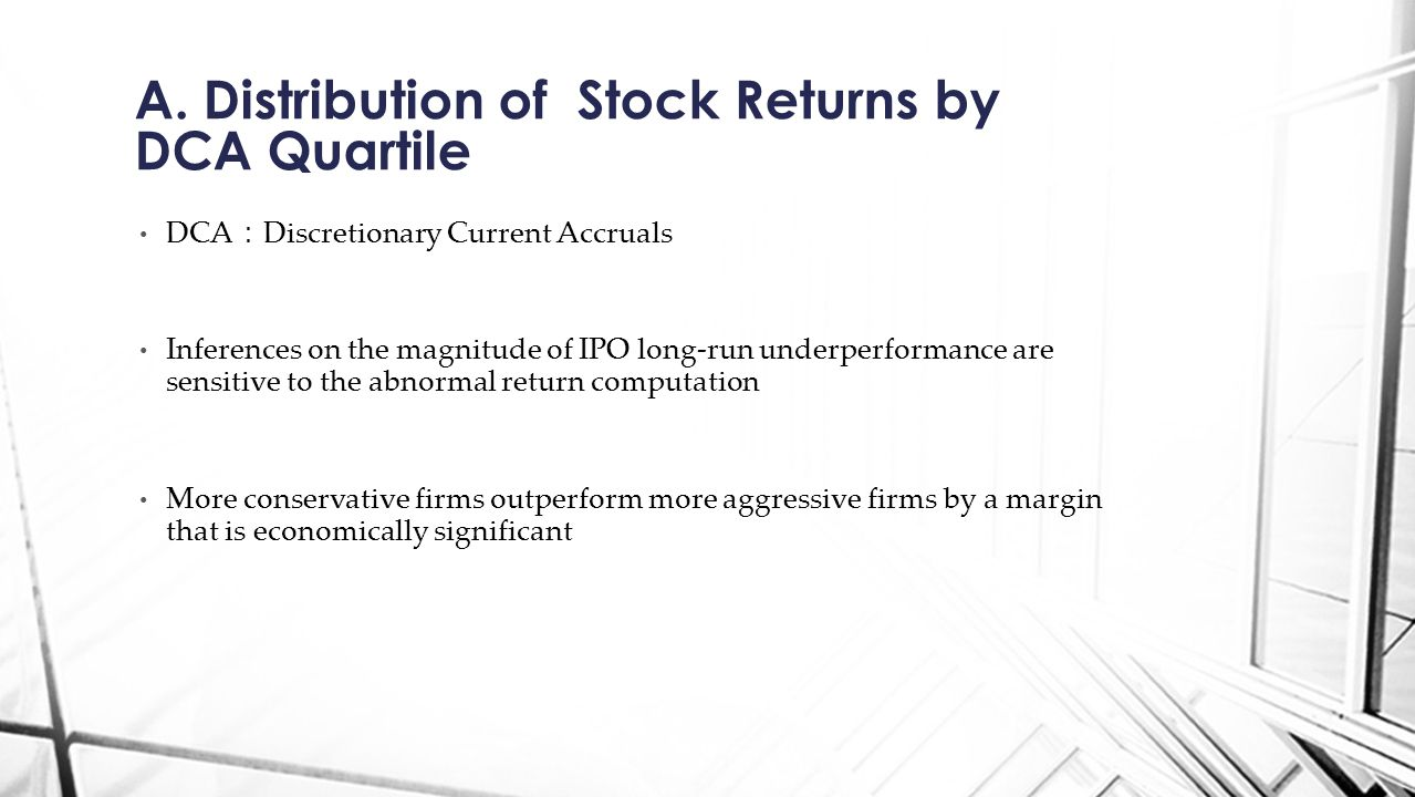 A. Distribution of Stock Returns by DCA Quartile