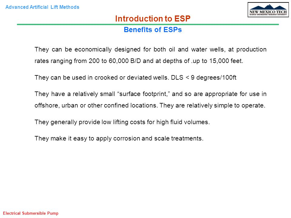 Introduction to ESP Benefits of ESPs