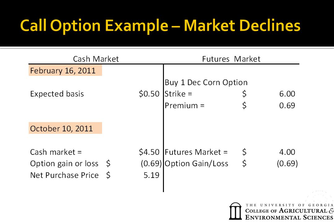 Call Option Example – Market Declines