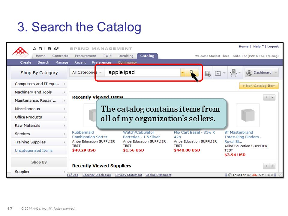 3. Search the Catalog apple ipad. The catalog contains items from all of my organization's sellers.