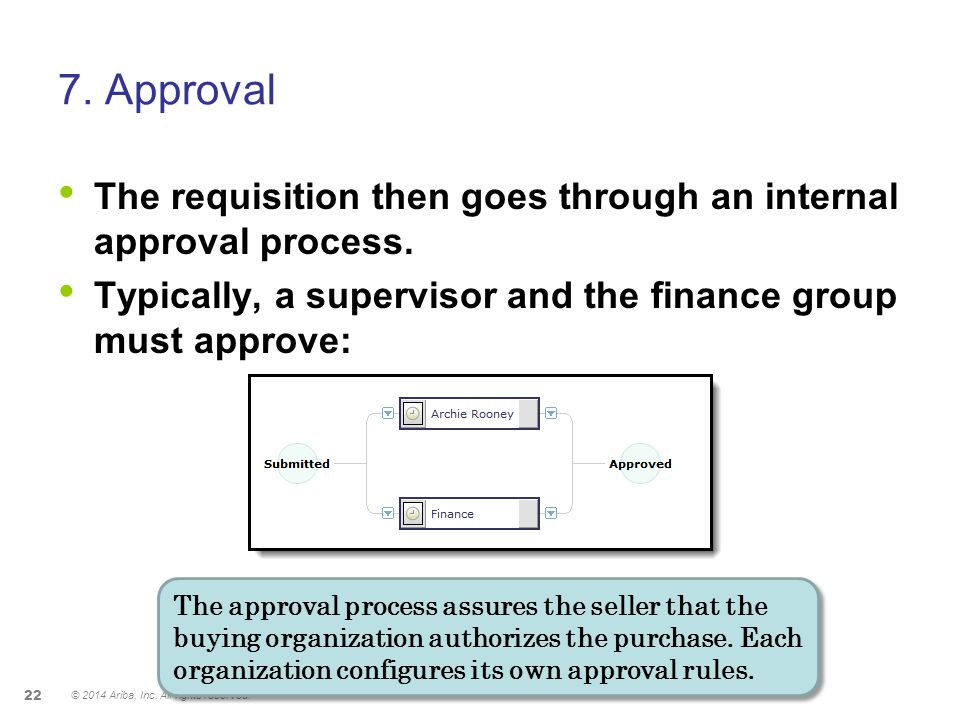 7. Approval The requisition then goes through an internal approval process. Typically, a supervisor and the finance group must approve: