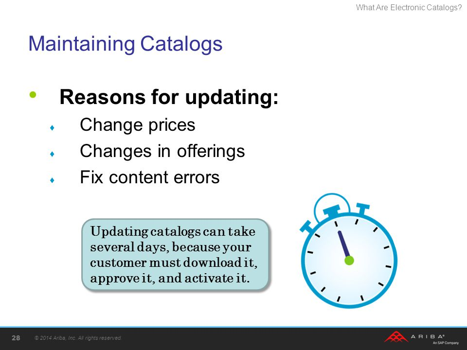 Maintaining Catalogs Reasons for updating: Change prices