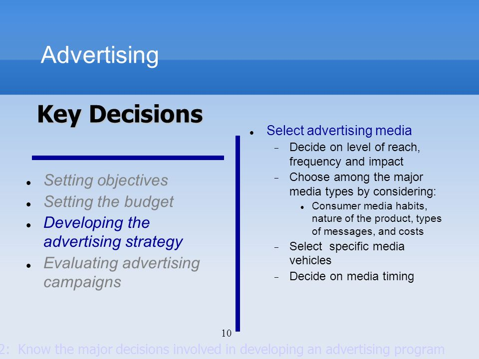 Advertising Key Decisions Setting objectives Setting the budget