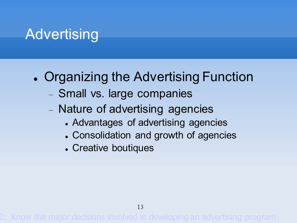 Advertising Organizing the Advertising Function