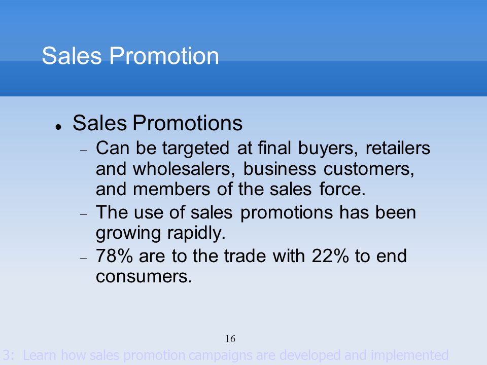 Sales Promotion Sales Promotions