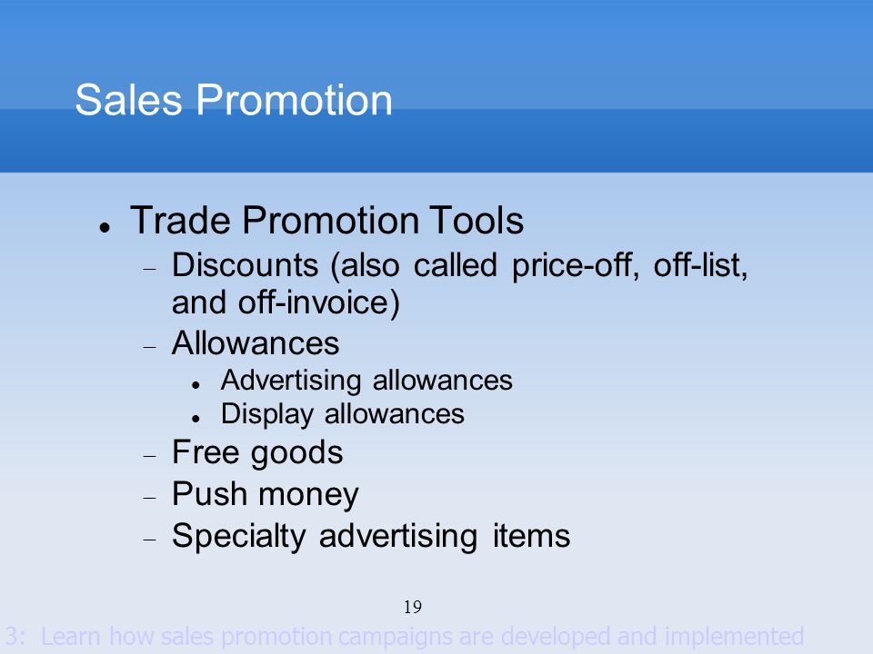 Sales Promotion Trade Promotion Tools
