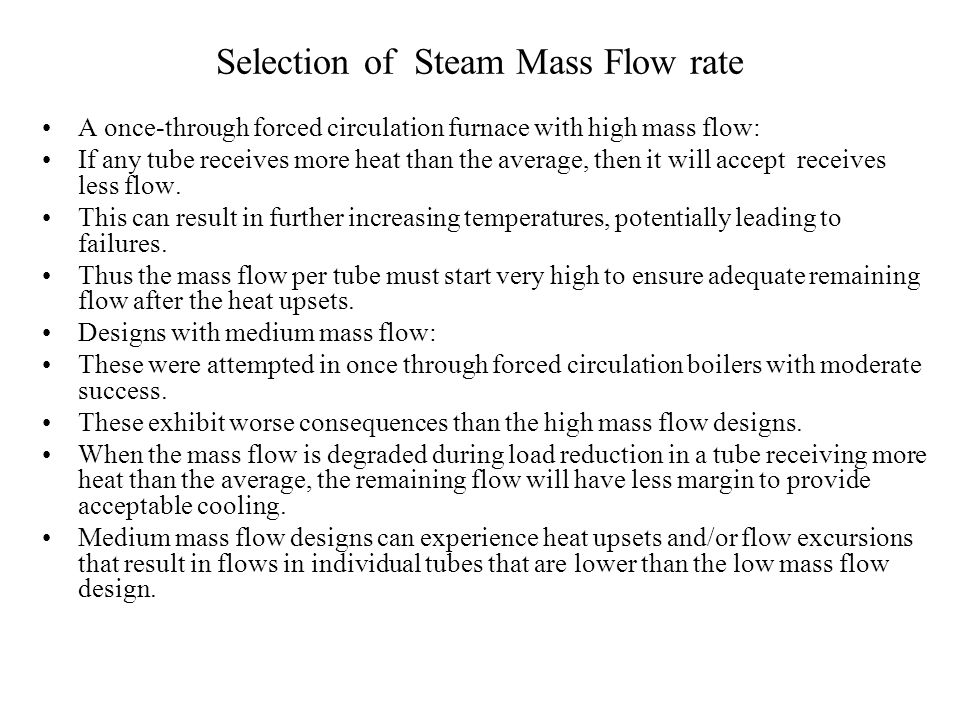 Selection of Steam Mass Flow rate