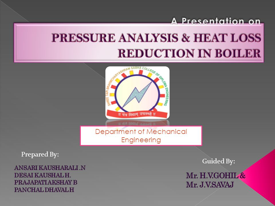 A Presentation on PRESSURE ANALYSIS & HEAT LOSS REDUCTION IN BOILER