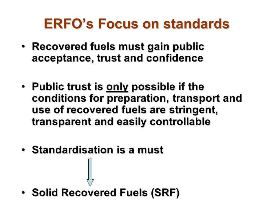 ERFO's Focus on standards
