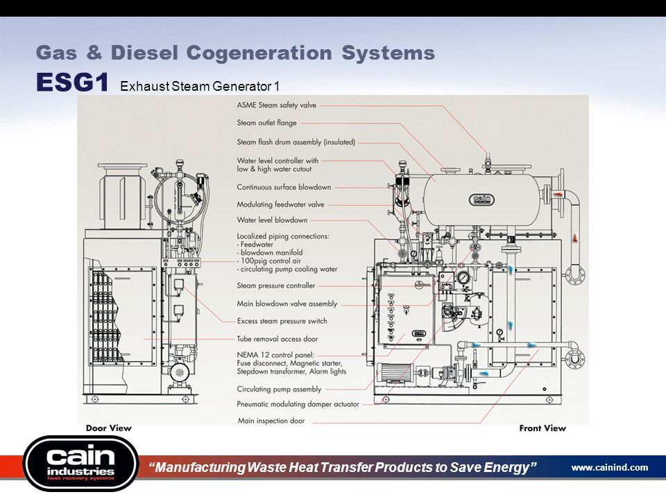 Gas & Diesel Cogeneration Systems ESG1 Exhaust Steam Generator 1