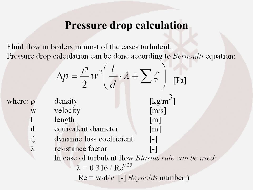 Pressure drop calculation