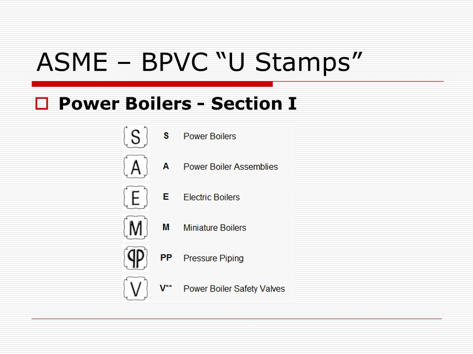 ASME – BPVC U Stamps Power Boilers - Section I