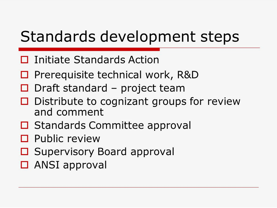 Standards development steps