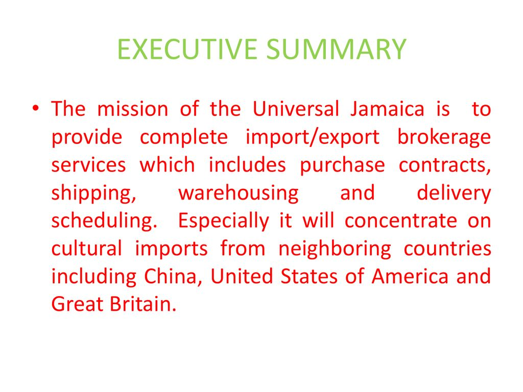 JAMAICA UNIVERSAL (Importers and exporters) Jamaica based