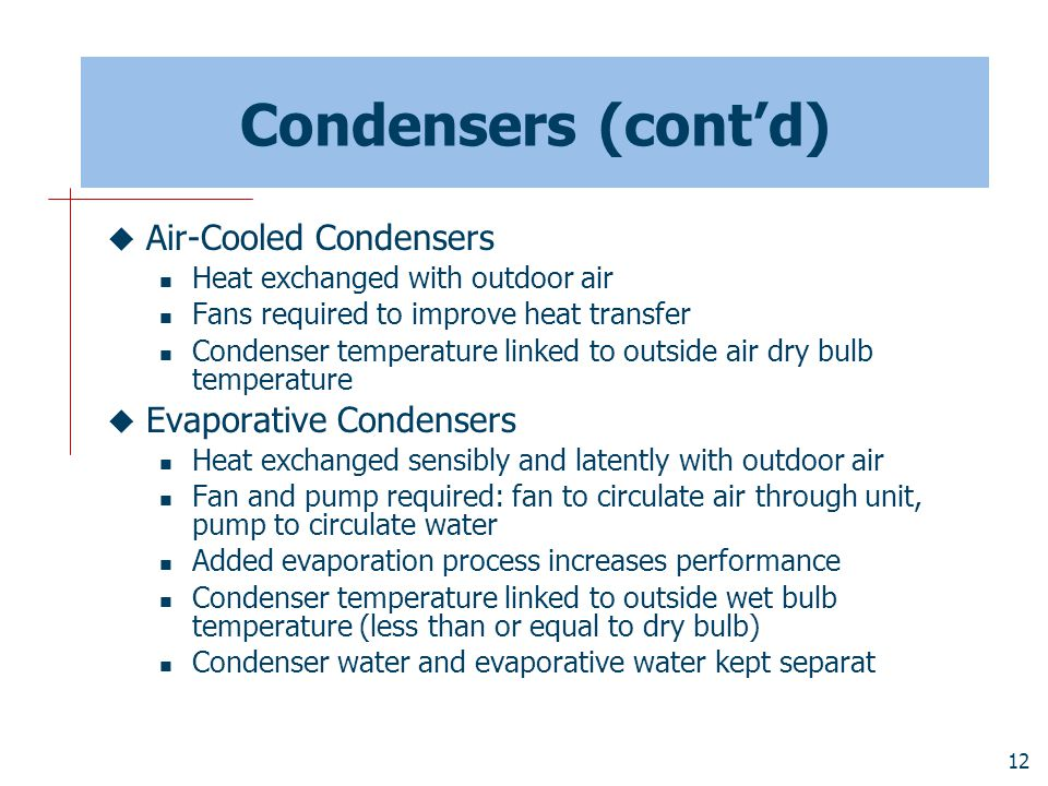 Condensers (cont'd) Air-Cooled Condensers Evaporative Condensers