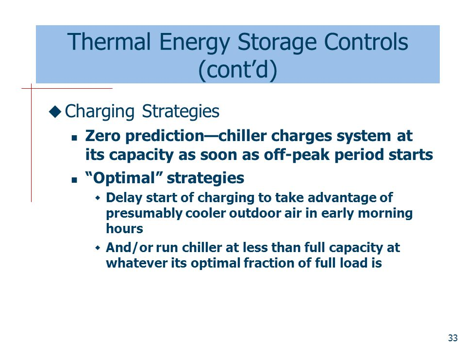 Thermal Energy Storage Controls (cont'd)