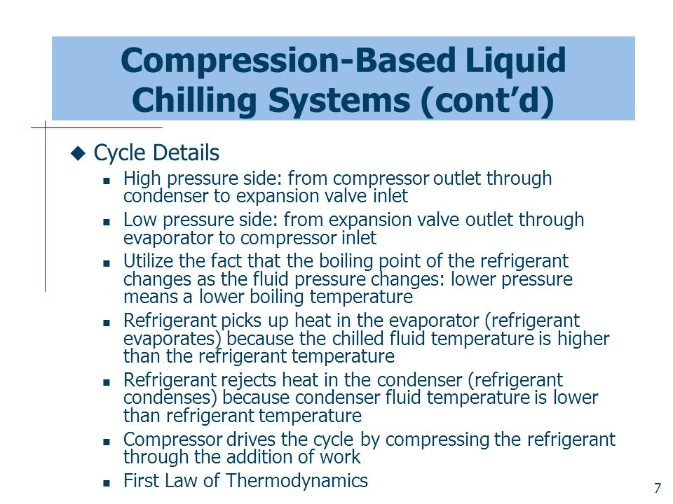 Compression-Based Liquid Chilling Systems (cont'd)