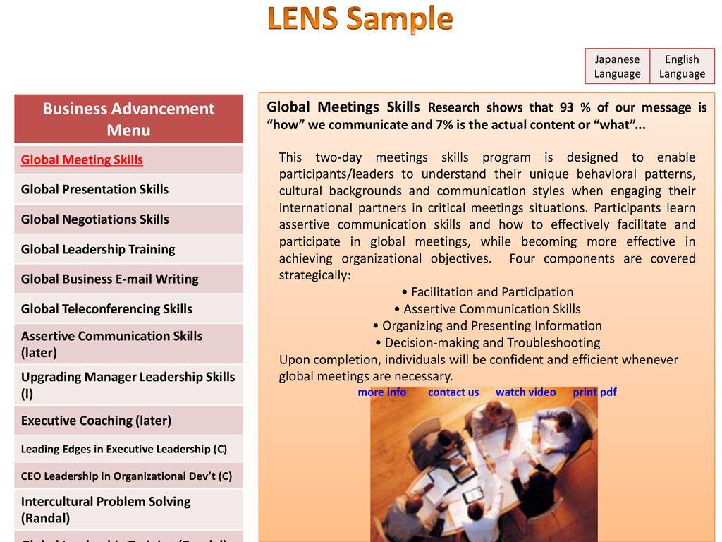 Business Advancement Menu more info contact us watch video print pdf