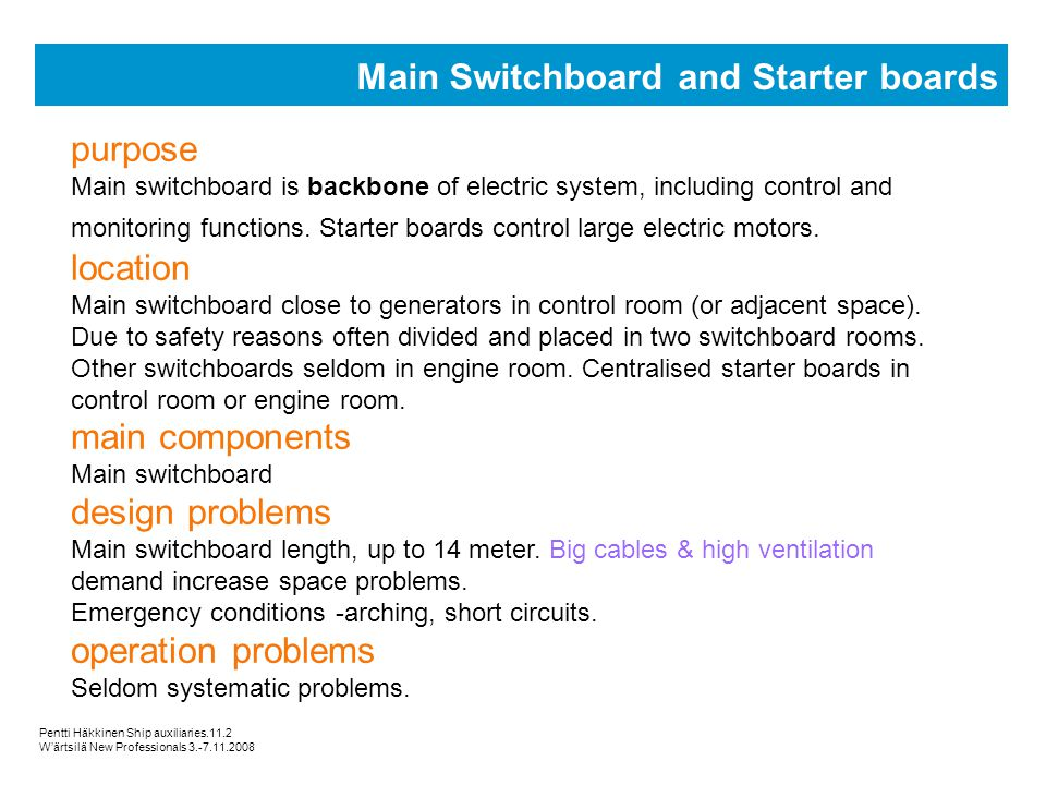 Main Switchboard and Starter boards