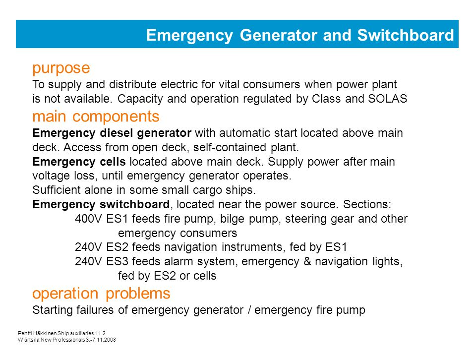 Emergency Generator and Switchboard