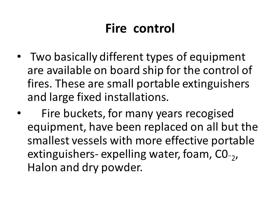 Fire control