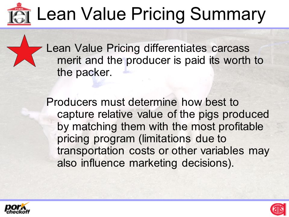 Lean Value Pricing Summary