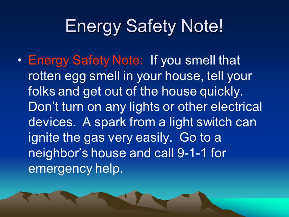 Energy Safety Note!