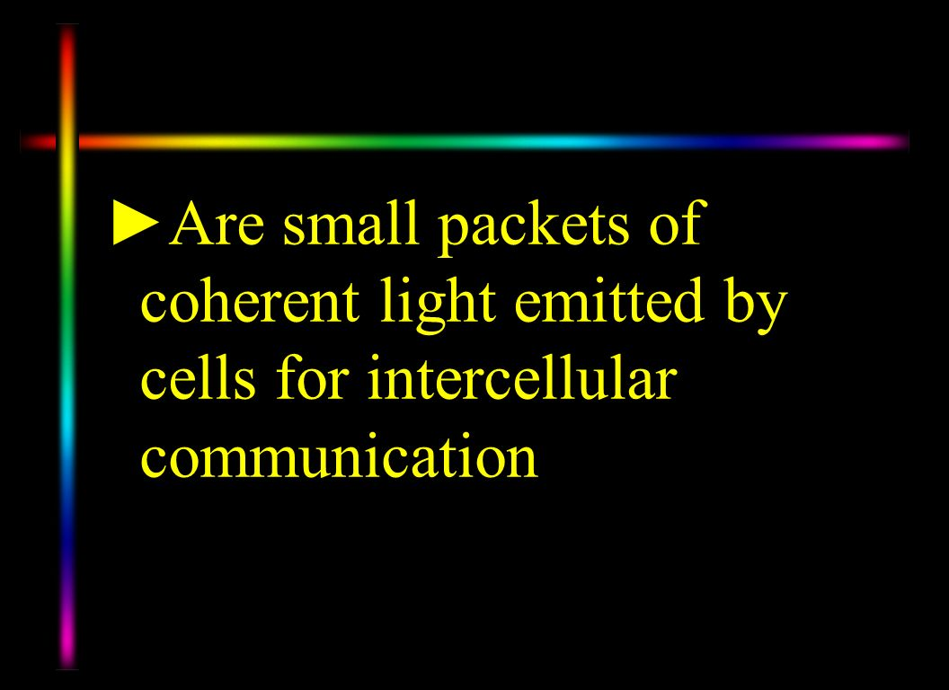 Are small packets of coherent light emitted by cells for intercellular communication