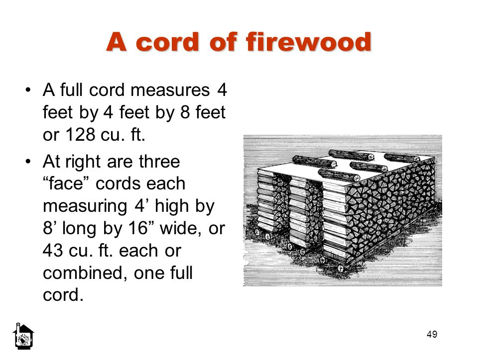 A cord of firewood A full cord measures 4 feet by 4 feet by 8 feet or 128 cu. ft.