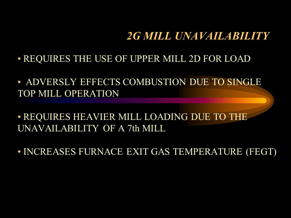 2G MILL UNAVAILABILITY REQUIRES THE USE OF UPPER MILL 2D FOR LOAD