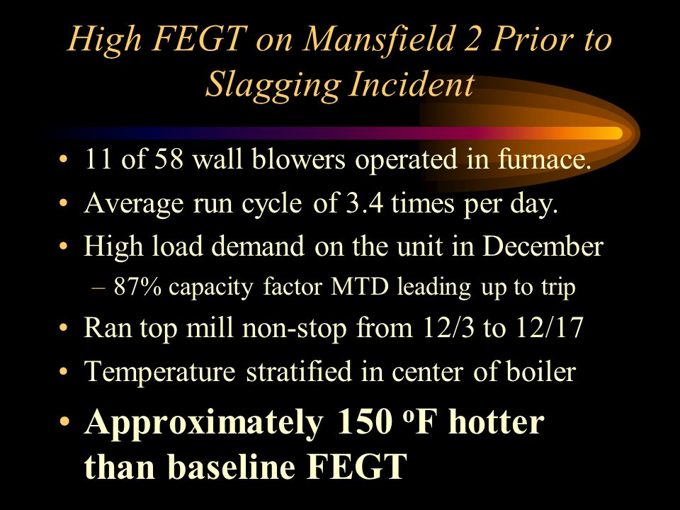 High FEGT on Mansfield 2 Prior to Slagging Incident