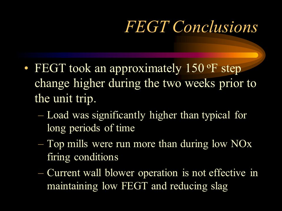 FEGT Conclusions FEGT took an approximately 150 oF step change higher during the two weeks prior to the unit trip.