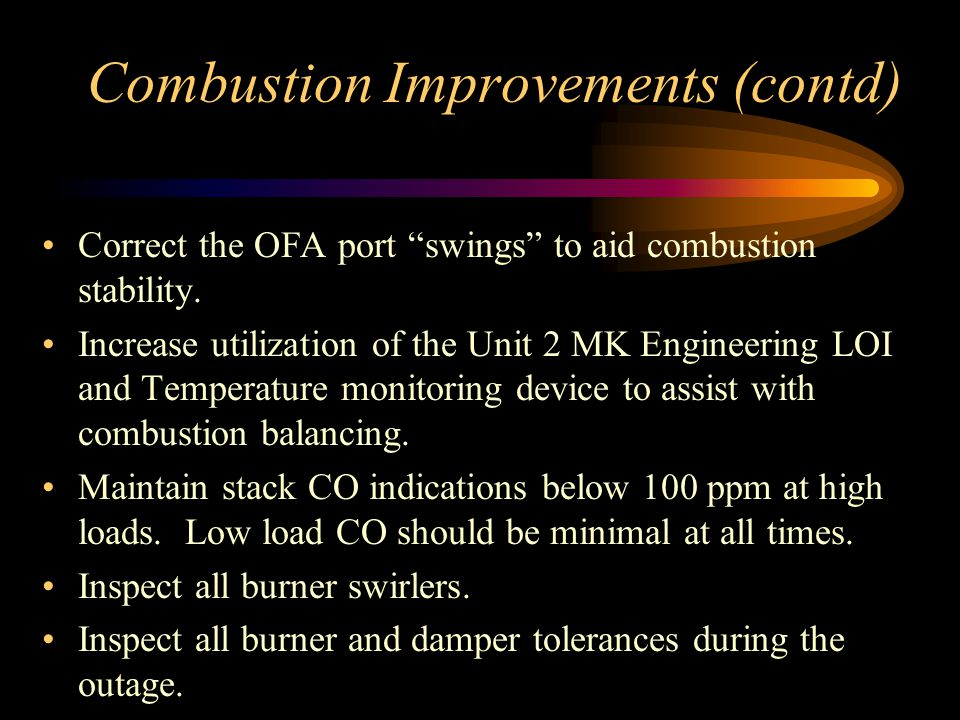 Combustion Improvements (contd)
