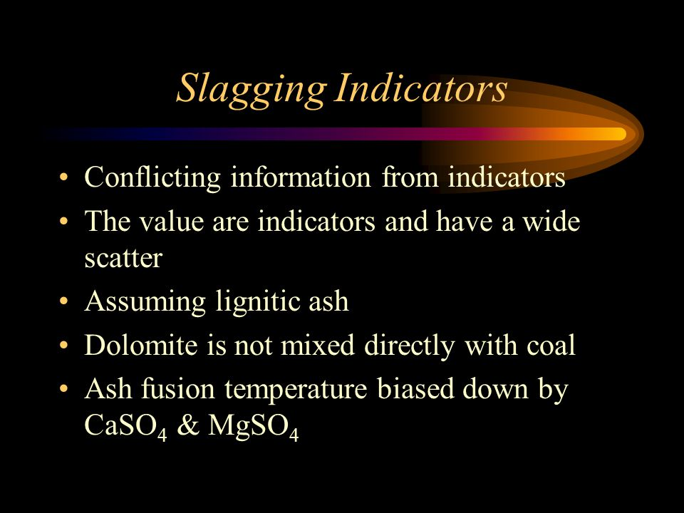 Slagging Indicators Conflicting information from indicators