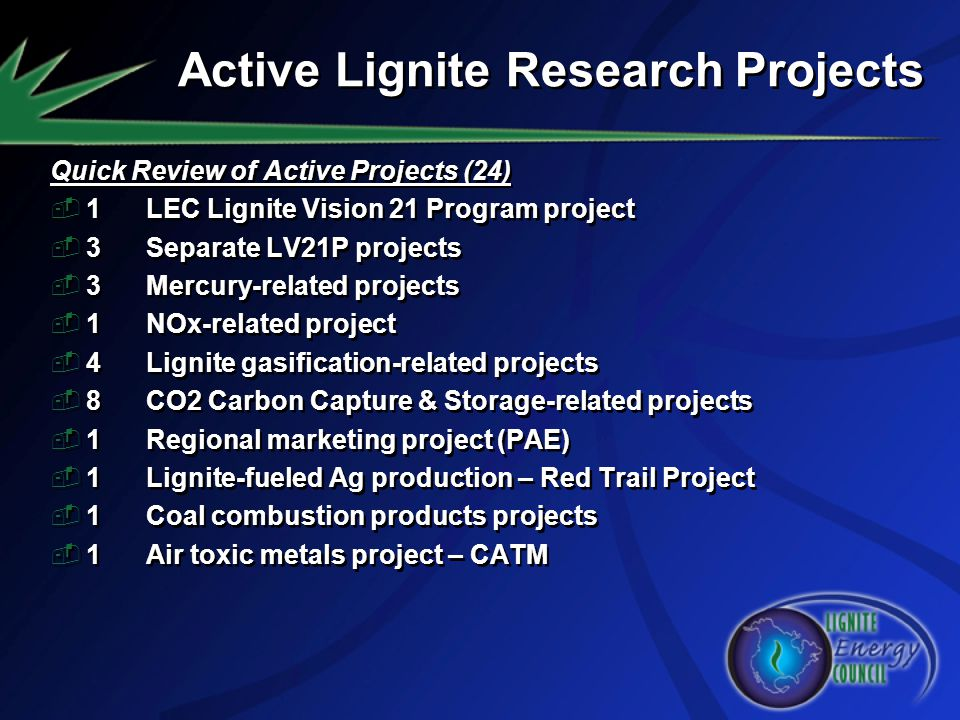 Active Lignite Research Projects