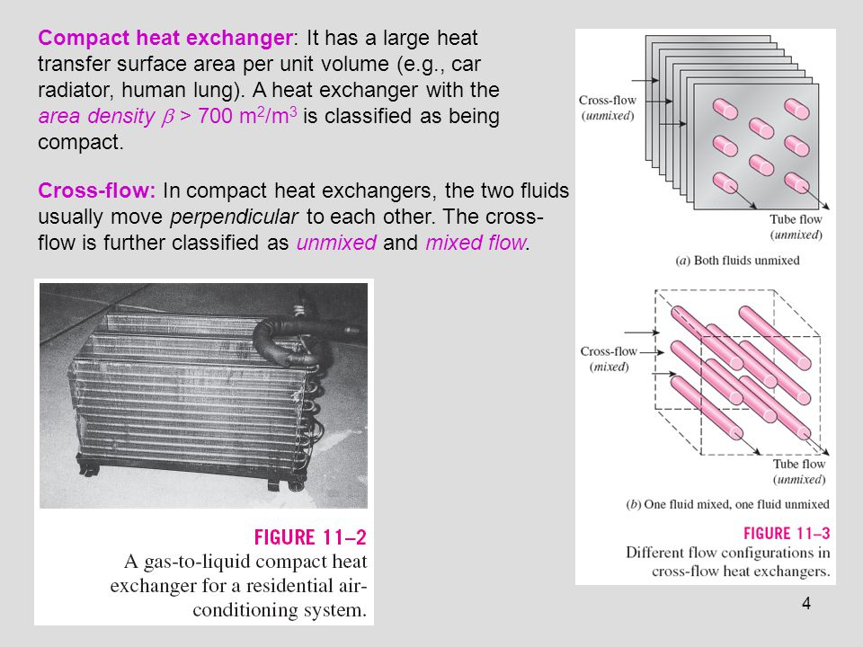 Compact heat exchanger: It has a large heat transfer surface area per unit volume (e.g., car radiator, human lung). A heat exchanger with the area density  > 700 m2/m3 is classified as being compact.