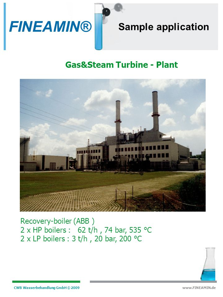 FINEAMIN® Sample application Gas&Steam Turbine - Plant