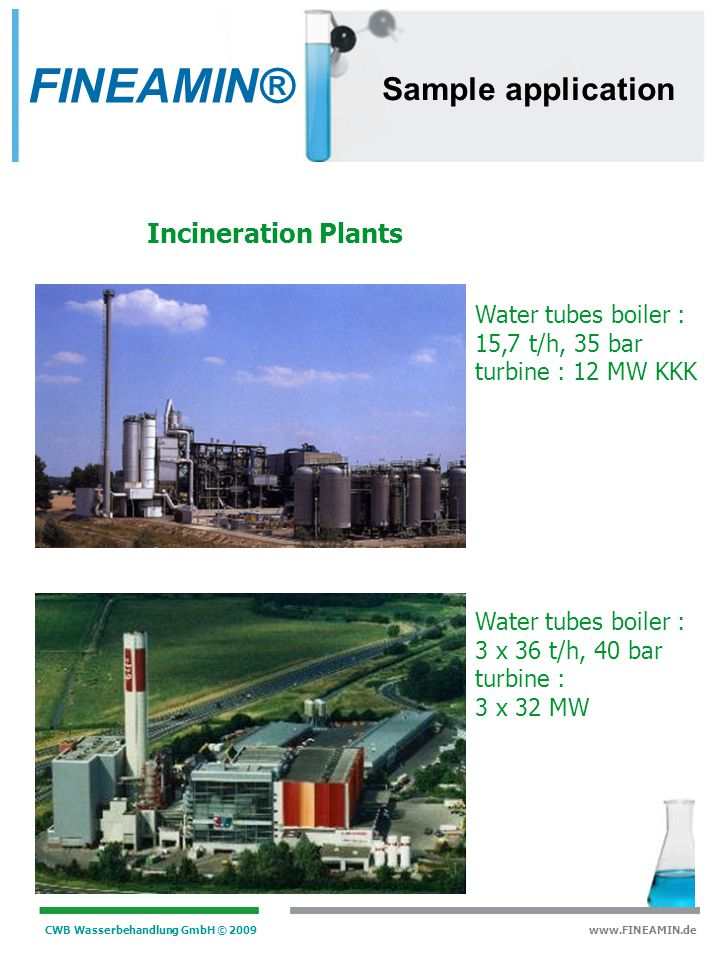 FINEAMIN® Sample application Incineration Plants Water tubes boiler :