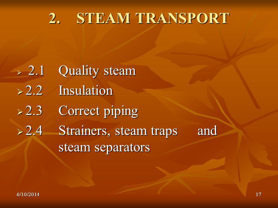 2. STEAM TRANSPORT 2.2 Insulation 2.3 Correct piping