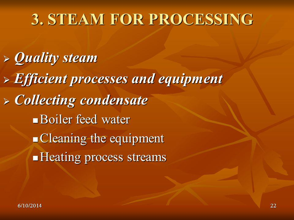 3. STEAM FOR PROCESSING Quality steam