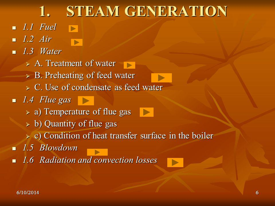 1. STEAM GENERATION 1.1 Fuel 1.2 Air 1.3 Water A. Treatment of water