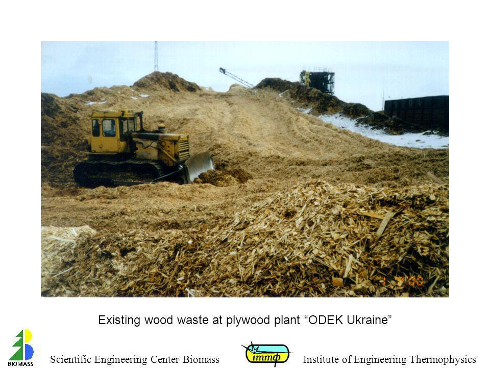 Existing wood waste at plywood plant ODEK Ukraine