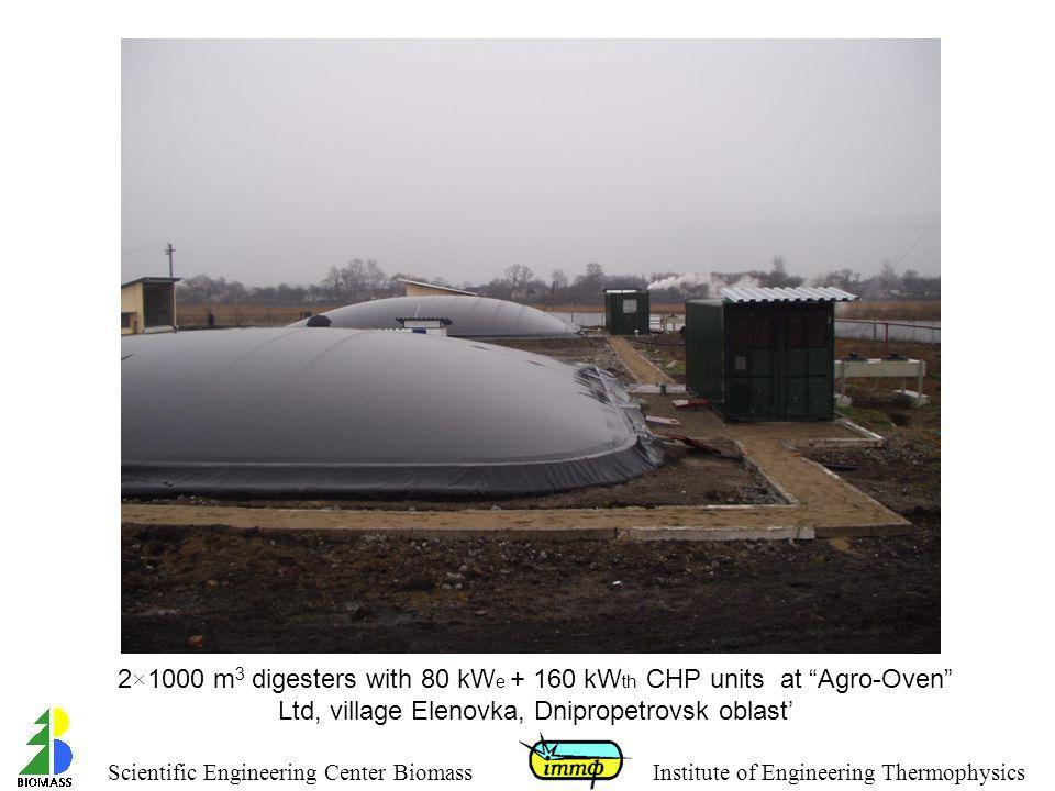 2×1000 m3 digesters with 80 kWe + 160 kWth CHP units at Agro-Oven Ltd, village Elenovka, Dnipropetrovsk oblast'