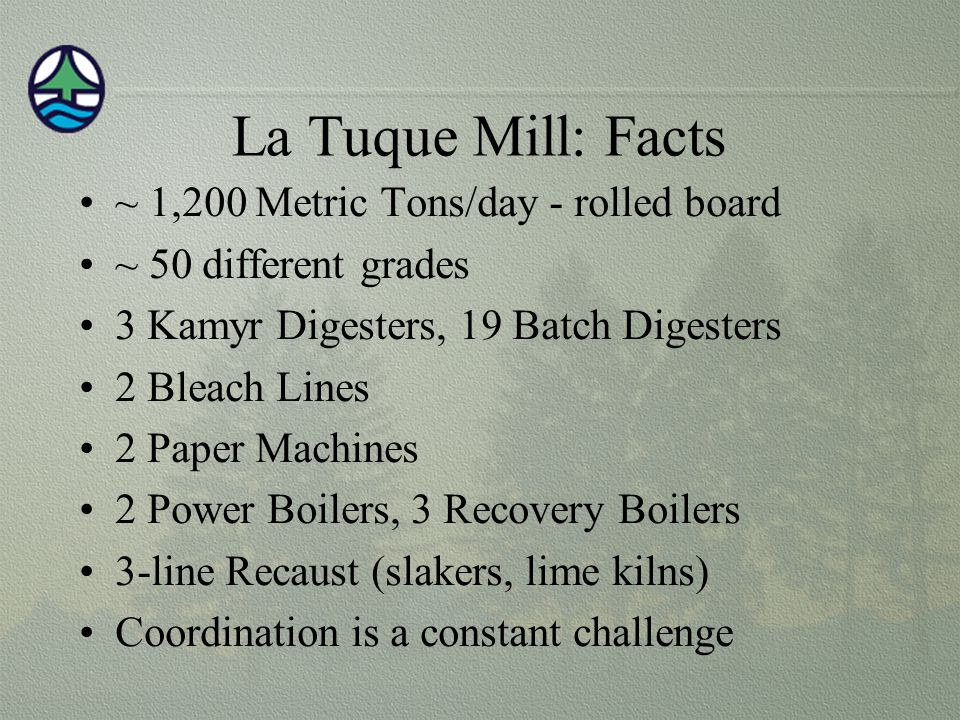 La Tuque Mill: Facts ~ 1,200 Metric Tons/day - rolled board
