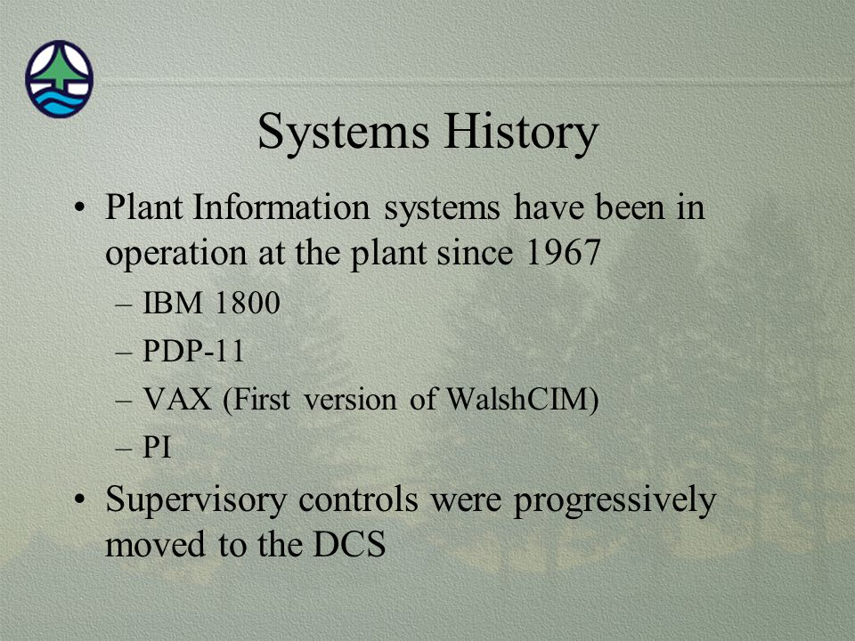 Systems History Plant Information systems have been in operation at the plant since 1967. IBM 1800.