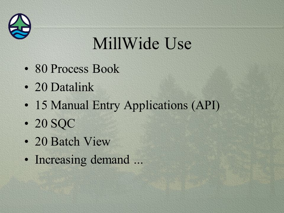MillWide Use 80 Process Book 20 Datalink