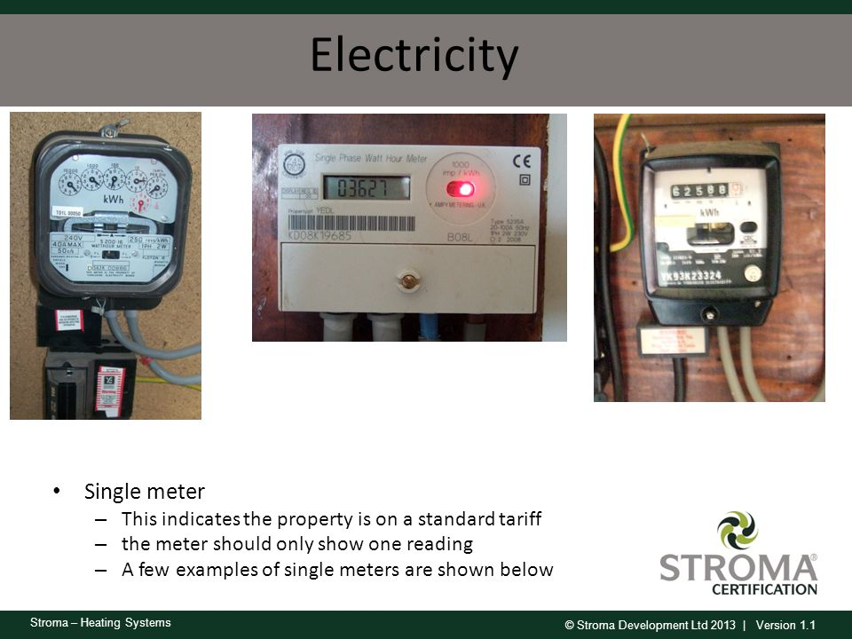 Electricity Single meter