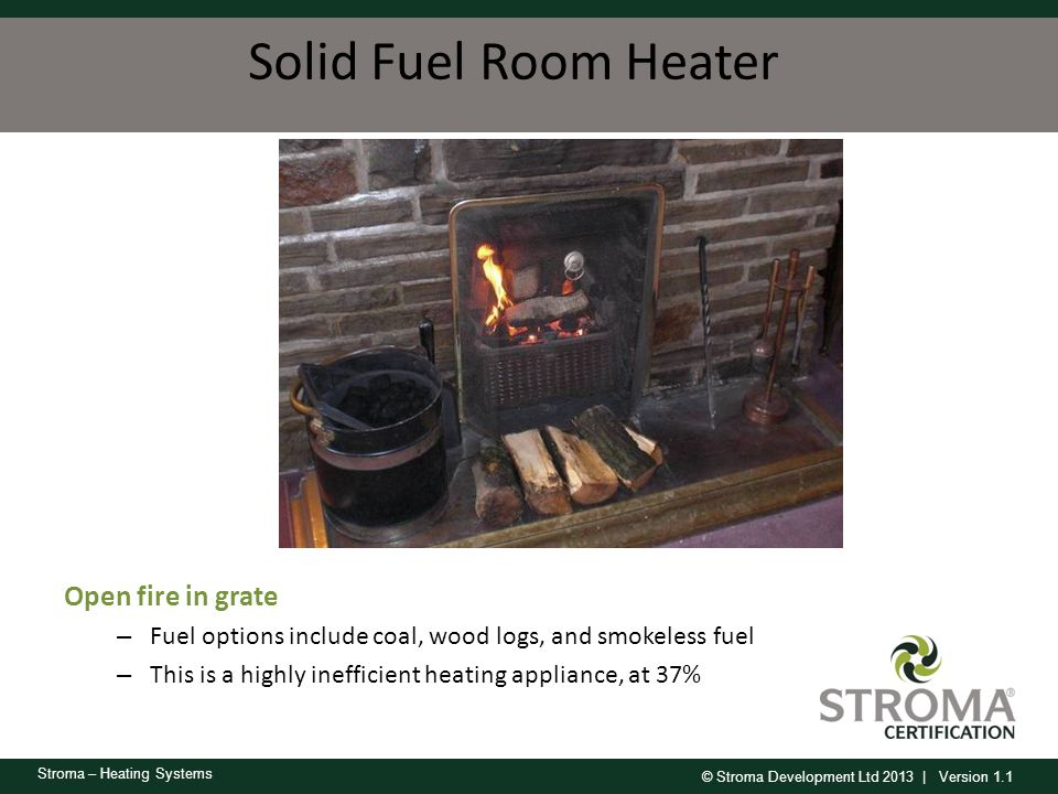 Solid Fuel Room Heater Open fire in grate
